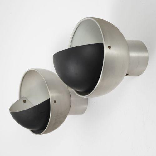 Radboud VAN BEEKUM (1950 2020) 一对壁灯WL1105。  采用黑色漆面金属和铝。  RAAK版。  20 x 17厘米。  磨损、…