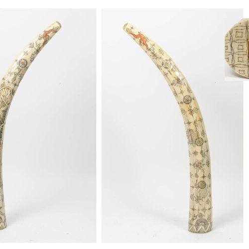 CHINE, XXème siècle Grande défense constituée de plaquettes d'os, sculptées et g…