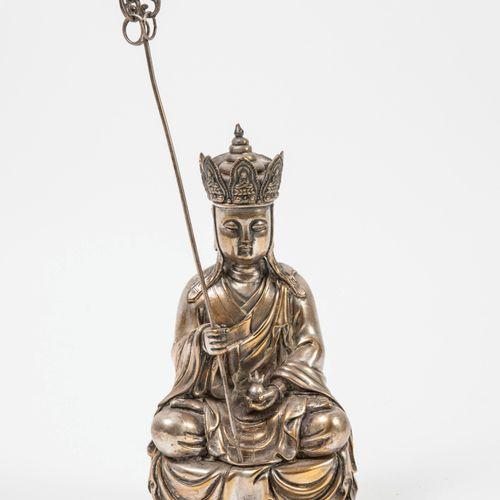CHINE, début du XXème siècle Bouddha assis en padamasana sur une base fleur de l…