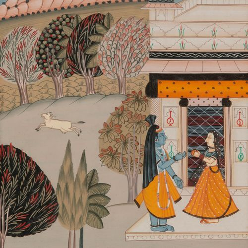 INDE, début du XXème siècle. Dieu Rama (?) et femme sur la terrasse d'un palais.…