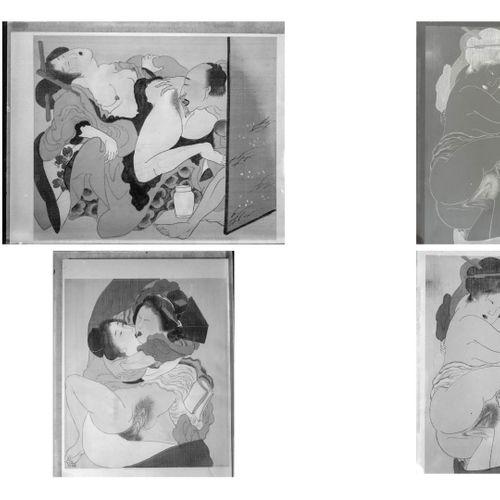 JAPON, XXème siècle, d'après Isoda KORUSAI (1735 1790) Huit négatifs sur plaques…