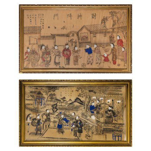 CHINE, Fin du XIXème ou début du XXème siècle Scènes de palais ou de rue.  Deux …