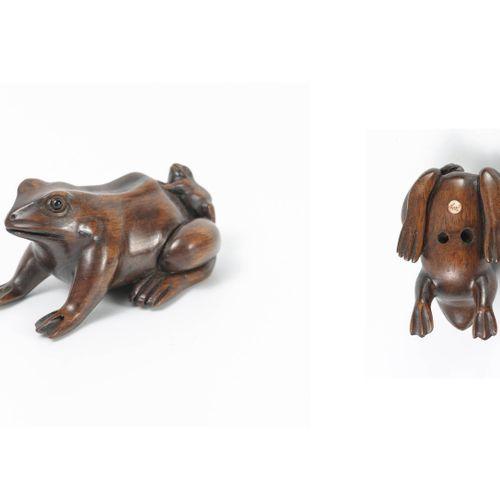 JAPON, XXème siècle Netsuke en palissandre figurant un bébé grenouille sur le do…