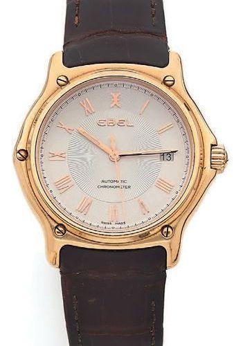 EBEL Sport Classic Montre bracelet d'homme. Boîtier rond en or jaune (750). Lune…