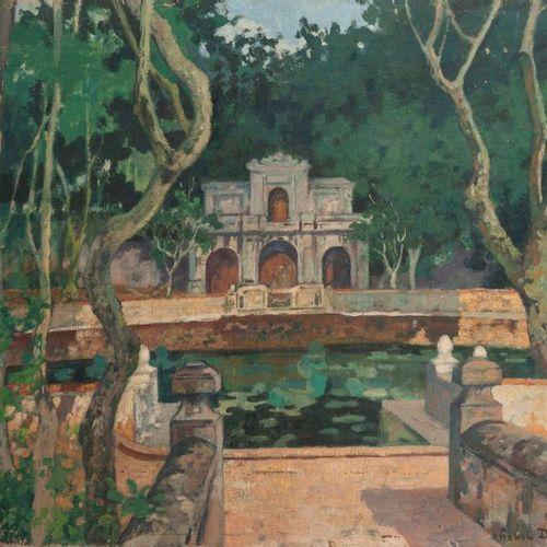 Henri DABADIE (1867 1949) Nymphée dans un parc. Huile sur toile. Signée en bas à…