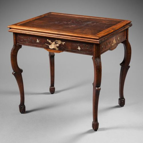 GAME TABLE made of engraved wood and wood inlaid with mother of pearl and ivory …