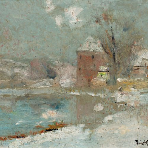 Robert Antoine PINCHON (1886 1943) Winter Oil on panel, signed lower right 16 x …