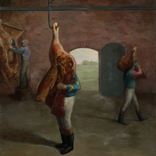 Olivier O. OLIVIER (1931 2011) At the slaughterhouse Oil on canvas, signed lower…