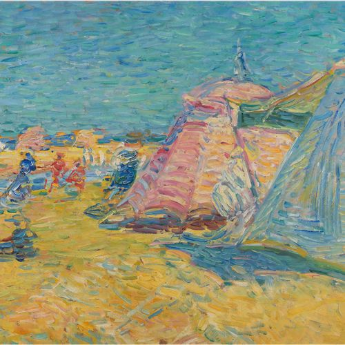 Nicolas TARKHOFF (1871 1930) Soulac sur Mer, tents on the beach, circa 1905 Oil …