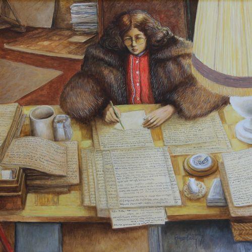 Claude GROBÉTY (1940 2016) The novelist Oil on canvas, signed lower right 65 x 9…