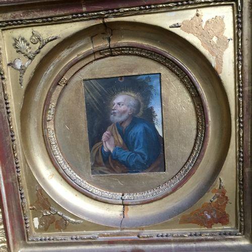 École Française du XVIIe siècle Saint Peter in prayer Oil on copper (small hole …