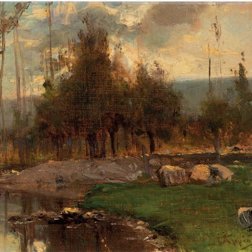 Adolphe Appian (1818 1898) Riverside Oil on canvas, signed lower right 26 x 35.5…