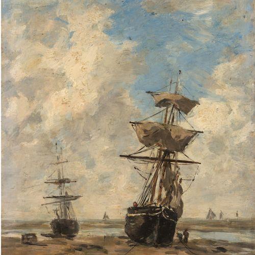 Eugène BOUDIN (1824 1898) Sailboats, low tide, circa 1883 1887 Oil on panel, sig…