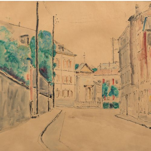 Pierre THEVENET (1870 1937) Saint Cloud, the hospital chapel Ink and watercolour…
