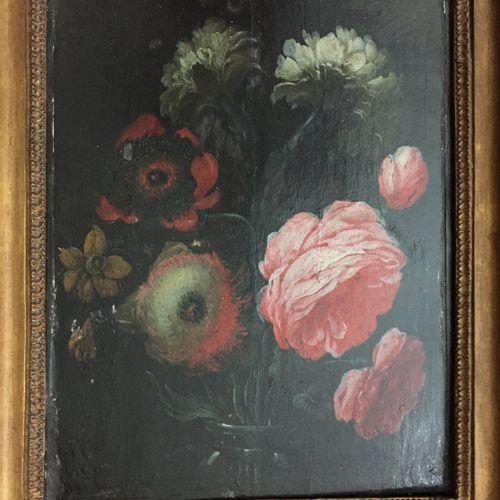 YKENS Frans (Ecole de) Anvers 1613 vers 1690 Flower vase Oil on panel (some rest…