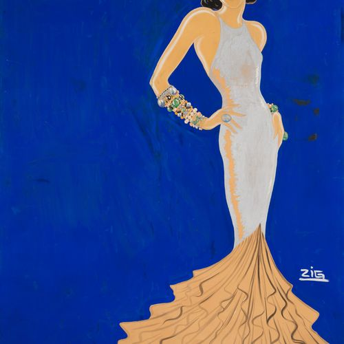 Louis GAUDIN dit ZIG (1882 1936) The long dress Gouache on paper mounted on canv…