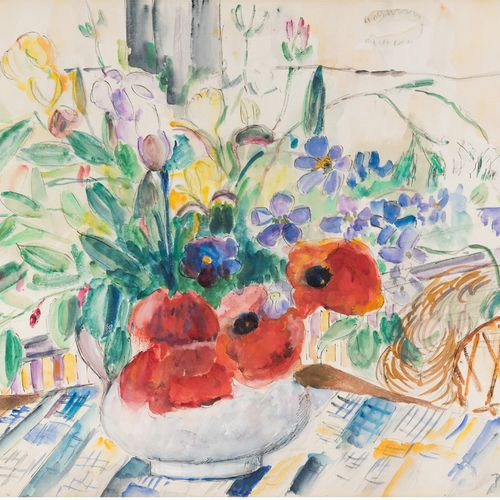 Pierre THEVENET (1870 1937) Vase of flowers on the tablecloth Ink and watercolou…