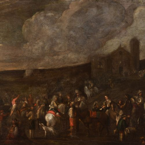 WAEL Cornelis (Attribué à Anvers 1592 Rome 1667 Riders, soldiers and villagers o…