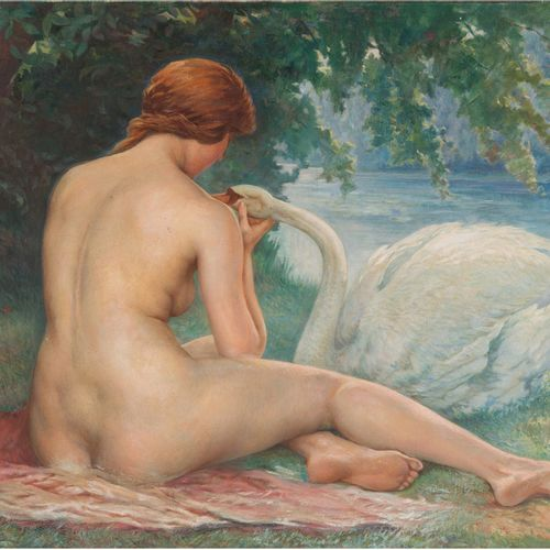 Ecole Moderne Leda and the swan Oil on canvas 97 x 130 cm (Tear top right)