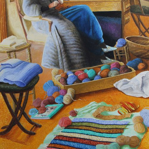 Claude GROBÉTY (1940 2016) The knitter,2000 Oil on canvas, signed lower left and…