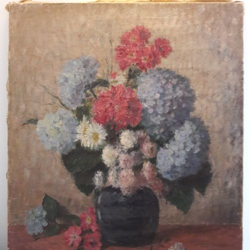 Léon BELLEMONT (1866 1961) Varied bouquet with hydrangeas Oil on canvas, signed …