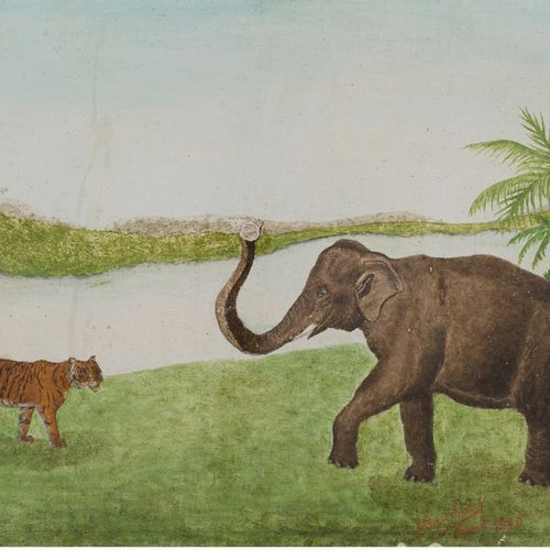 André BAUCHANT (1873 1958) The tiger and the elephant, 1920 Oil on canvas pasted…