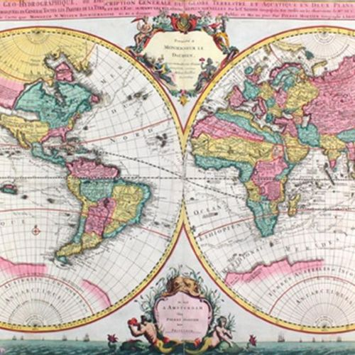 Sanson,N. Collective atlas with 79 (62 dplblgr.) color. Copper cards, 2 coloured…