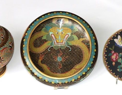 China Cloisonne Collection of enamelled objects c. 1900 1950, including a lidded…