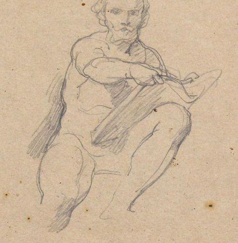 Coghetti, Francesco (1804 Bergamo Rome 1875). Study of a sitting man with paper …