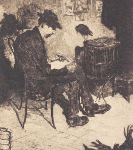 "DE BRUYCKER, Jules (1870 1945, Belgium). ""L'Artiste"". Etching. 1906. C. 31 x c. …"