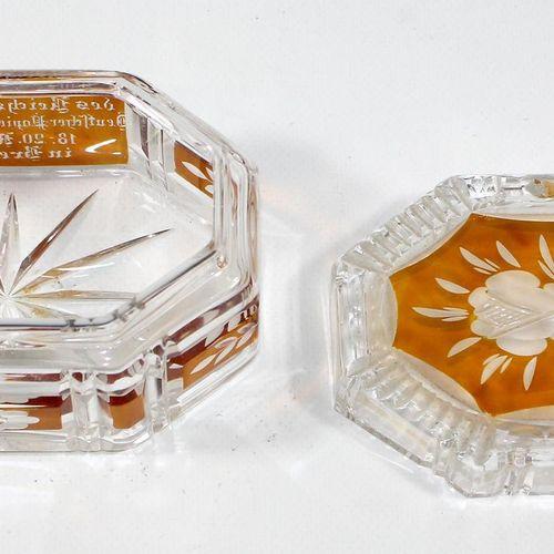 """Breslau Reichsverband Deutscher 纸张批发商。八角形水晶玻璃碗,黄色釉面。正面刻有 """"Zur Tagung des Reichsv…"""