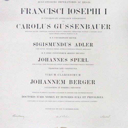 Promotions Urkunde 1902年12月22日,维也纳大学为来自波西米亚Kalsching的Johann Berger(法学)颁发的证书。 大约6…