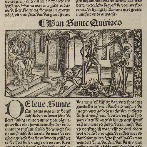 Heiliger Quiriakus. Van sunte Quiriaco. Gravure sur bois sur le folio du texte c…