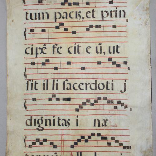 Antiphonar. 两面都有题词。一首反诗的叶子。版面上的拉丁文手稿,约1500年,imp. Fol.有大辫子带首字母S,黑色和红色的字体,4(5)个红格子…