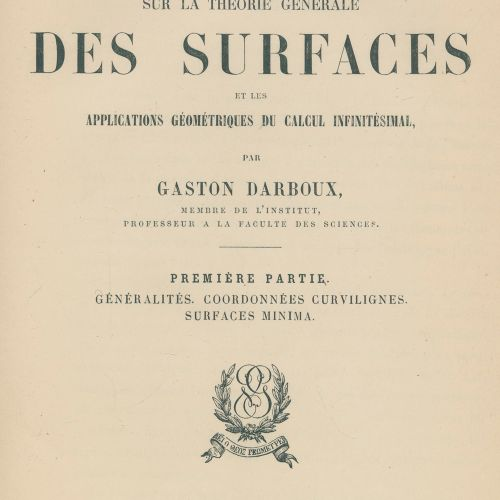 Darboux,G. Lecons sur la théorie generale des surfaces et les applications geome…