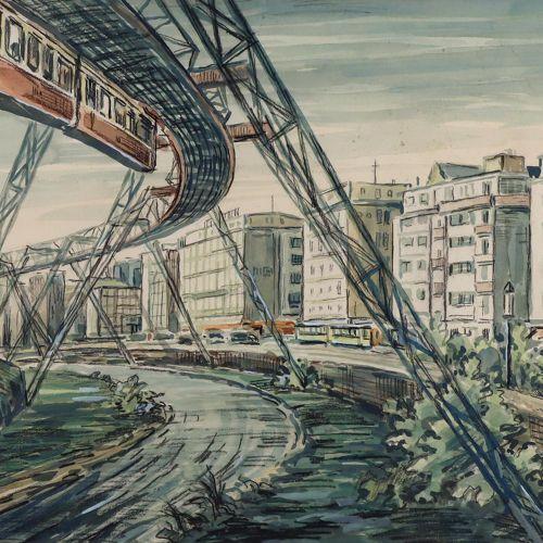 Wolff, Julius (1895 Wuppertal 1980). Chemin de fer suspendu de Wuppertal. Aquare…