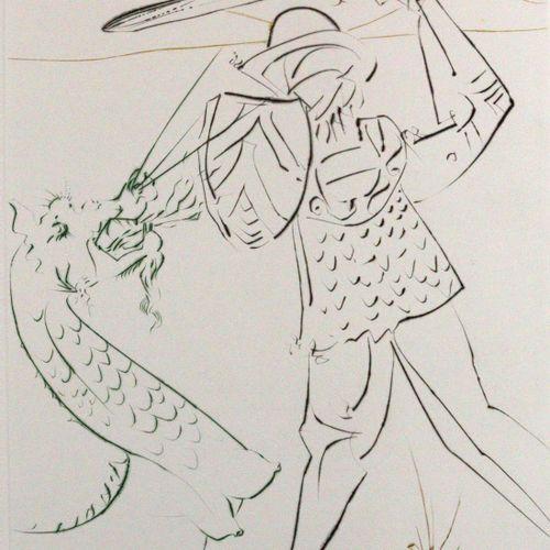 Dali,S. La Quête du Graal.巴黎,帕梅拉出版社1975年。 1975年。452 x 330毫米。有12个彩色版本。蚀刻画。原有的布质作品…