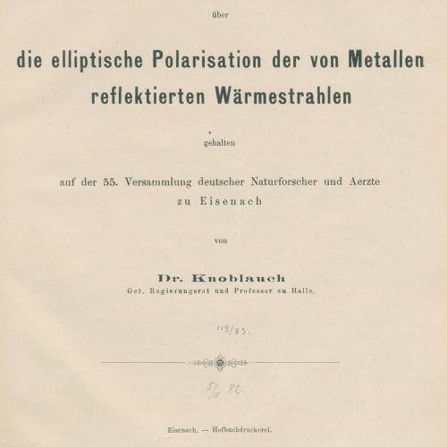 Knoblauch,H. Volume collectif avec 9 réimpressions spéciales et rapports de sess…