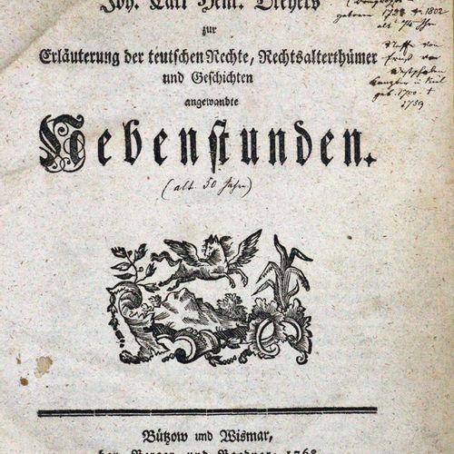 Dreyer,J.C.H. 对德国权利的解释,法律时代和历史的应用辅助课程。Bützow u. Wismar, Berger u. Boedner 1768. …