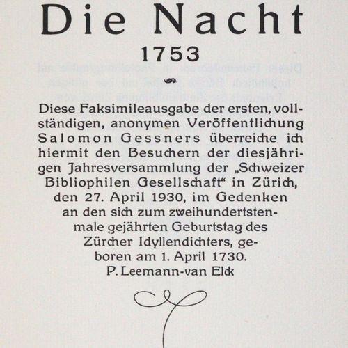 Gessner,S. 苏黎世,为瑞士藏书家协会1930年出版。有头像。10(其中3页)对开锦盒,Zt.用线缝制。 萨洛蒙 格斯纳为其200岁生日而出版的第一本完…