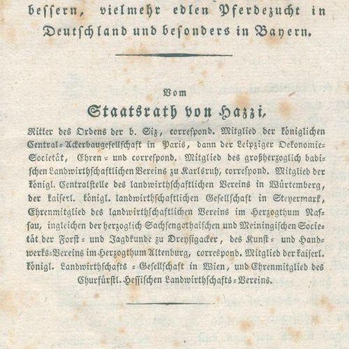 Hazzi,J.V. 关于赛马作为一种...关于赛马作为促进德国,特别是巴伐利亚更好的、相当高贵的养马的手段。慕尼黑,Lindauer 1826年。IV,151…