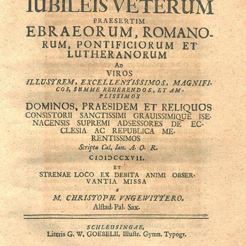 Ungewitter,C. 纪念品》(Dissertatio Epistolica De Iubileis Veterum Praesertim Ebraeor…
