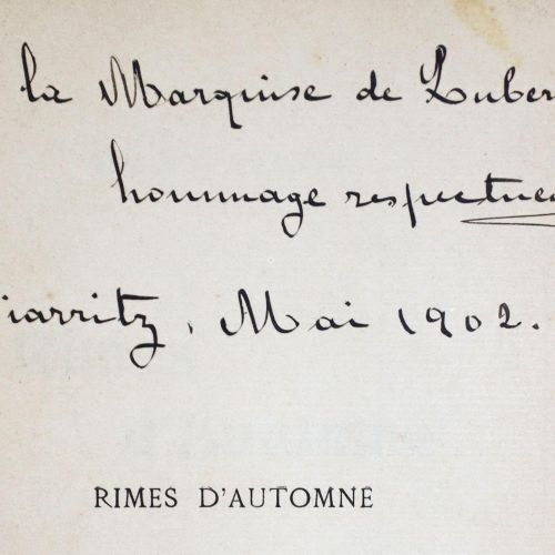 Alcedo,Marquis de (d.I. Alfons XIII. Von Spanien). 秋天的音乐。Bayonne, Imprimerie A. …