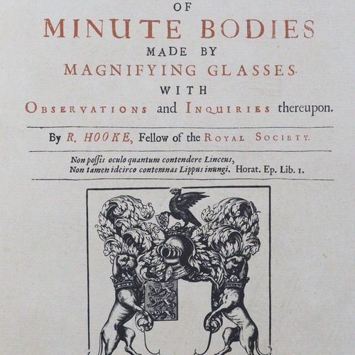 Hooke,R. 显微摄影;或用放大镜对微小物体进行的一些生理学描述,以及相关的观察和调查。伦敦1667年版的摹本,摹本和附带的小册子。Stgt., Editi…