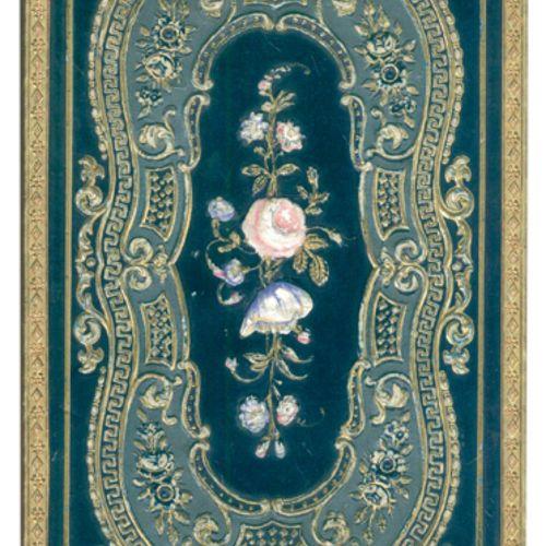 Kassette sous forme de livre avec couverture à charnière. Couverture avec orneme…