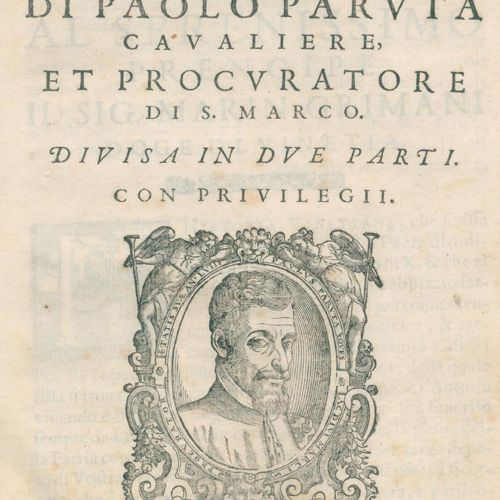 Paruta,P. Historia Vinetiana.第一部分(而不是2)。威尼斯,D.Nicolini 1605。2叶,840页,18叶。带手工标记的丝带…