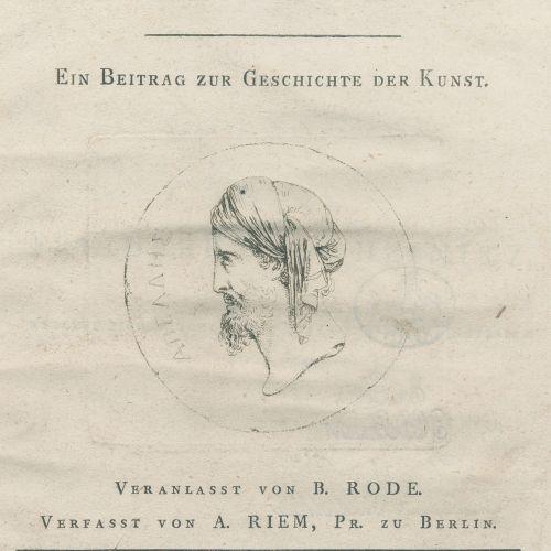 Riem,A. Sur la peinture des Anciens. Une contribution à l'histoire de l'art. Ini…