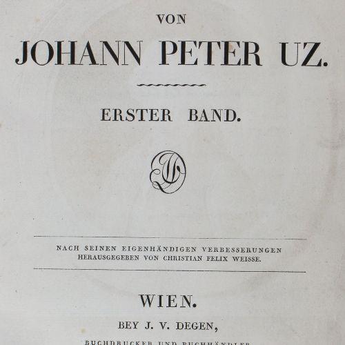 Uz,J.P. 诗意的作品。2卷。维也纳,德根1804,4°。用1个(而不是2个)盖特。正面,2页,CX页,1页,210页;1页,IV,259页,1页。棕色布面…