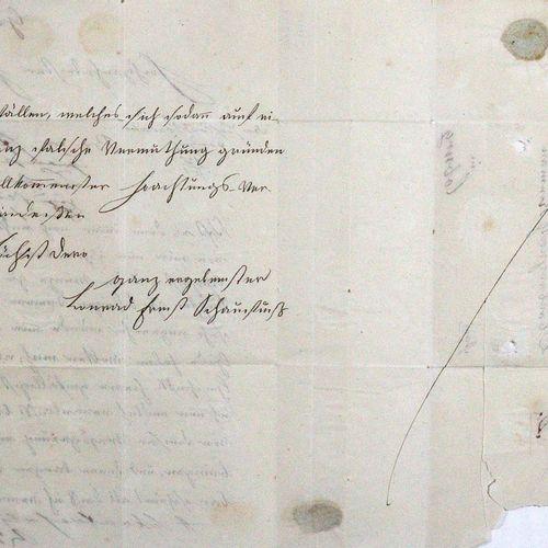 Schaufuß, Conrad Ernst. Eh. Lettre avec signature, datée. Greiz, 15 Jan. 1816. G…