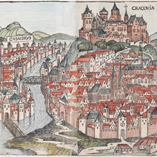 Schedel,H. Cracovie. Gravure sur bois en couleur. Du latin. Fol, double page (26…